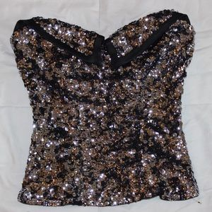 Bebe tube top with sequins
